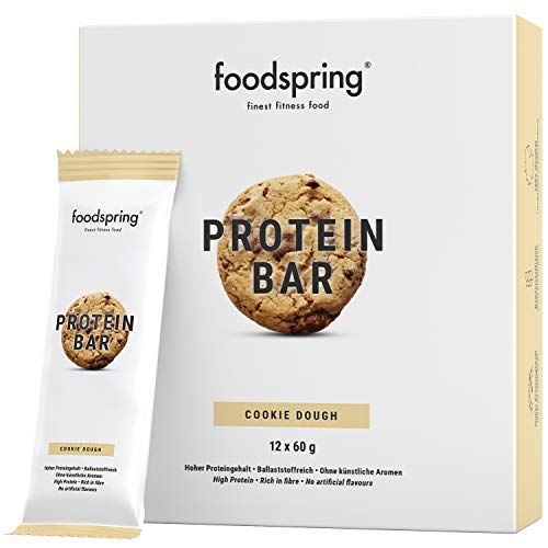 foodspring Protein Riegel Cookie Dough, 12er Pack Eiweißriegel ohne Zuckerzusatz, Hergestellt in zertifizierten Produktionen in Deutschland