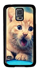 Rugged Samsung Galaxy S5 Case and Cover - Kitten Yawn Custom Design PC Case Cover for Samsung Galaxy S5 - Black
