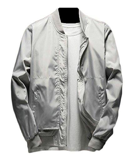 Grey Jacket Long Lightweight Windbreaker Men's Sleeve Zip Full Outwear security Baseball 58qvRa1wRX
