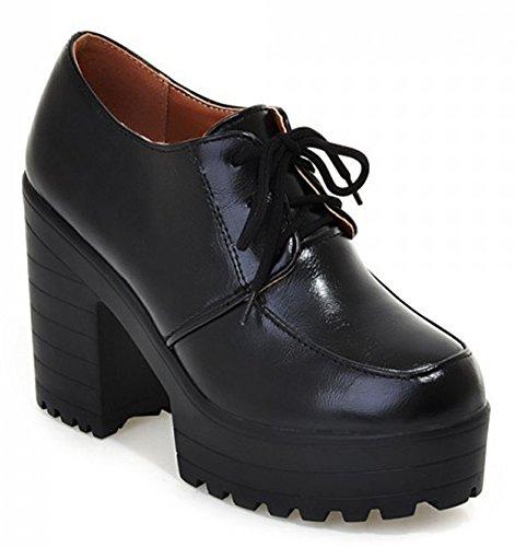 Idifu Kvinners Klassiske Høye Chunky Hæler Plattform Oxfords Støvler Snøre Opp Korte Sokker Sorte
