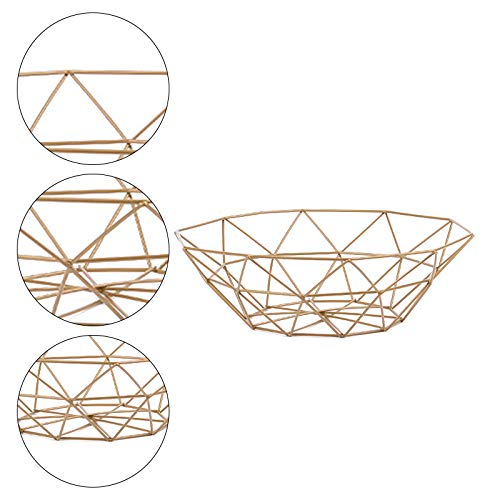 MoGist Fruit Basket Fruit Bowls Storage Stainless Steel Wire Snacks Storage Basket Home Kitchen Art Decoration Fruit Basket, 26 cm - Copper Plated (Golden) by MoGist (Image #2)