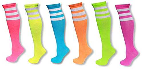 6 Pack of Neon Colored Knee High Tube Socks w/White Stripes -