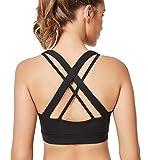 Yvette Low Impact Wireless Yoga Sports Bra for Women with Sexy Strappy Criss Cross X Back