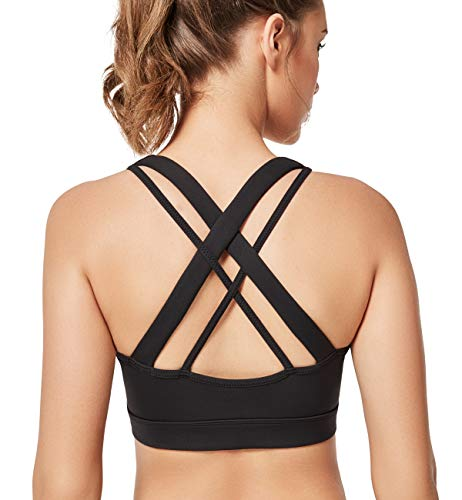 Yvette Low Impact Criss Cross X Back Wireless Plus Size Sports Bras for Large Busted Women in Yoga Pilates, Black, M(AC)