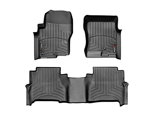 2009 Black 1st Row - WeatherTech Custom Fit FloorLiner for Nissan Frontier -1st & 2nd Row (Black)