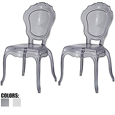2xhome - Belle Style Ghost Chair Ghost Armchair Dining Room Chair - Armchair Lounge Chair Seat Higher Fine Modern Designer Artistic Classic Mold