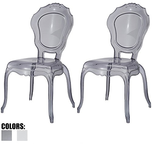 2xhome - Set of Two (2) - Belle Style Ghost Side Chairs Dining Room Chair - Smoke Accent Seat - Lounge No Arm Arms Armless Less Chairs Seats Higher Fine Modern Designer (Seat Armless Stack Chair)