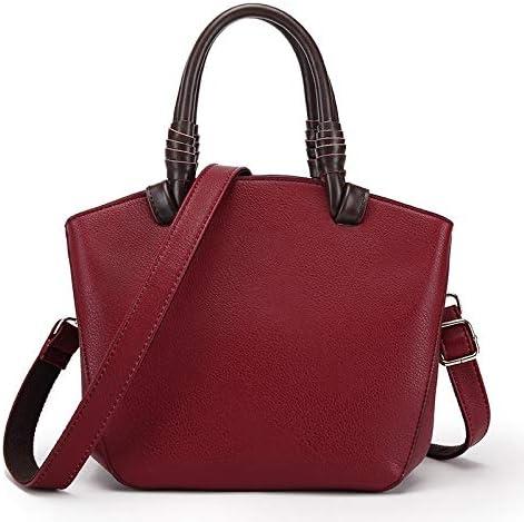 HEMFV カジュアルファッションPUレザーレディース財布とハンドバッグレディースデザイナーサッチェルトートバッグショルダーバッグ (Color : Red)