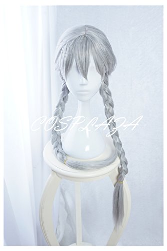 COSPLAZA Cosplay Wigs Long Braided Silver White Girl Fashion Synthetic Anime Halloween Hair (Silver) -