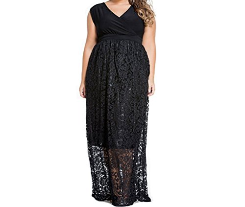 Christmas PEGGYNCO Womens Sexy V Neck Floral Lace Maxi Skirt Plus Dress Size XL