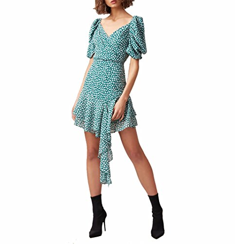 HAOYIHUI Womens Floral Print Wide V Neck Short Puff Sleeve Irregular Hem Mini Dress(XXL,Green) ()
