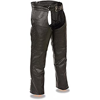 MENS MOTORCYCLE REFLECTIVE VENTED LEATHER RIDING CHAP PANTS SOFT BLACK Small