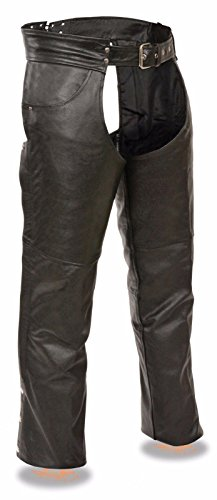 MEN'S MOTORCYCLE CLASSIC JEAN POCKET GENUINE LEATHER RIDING CHAP PANTS AMAZING$$ (3XL Regular)