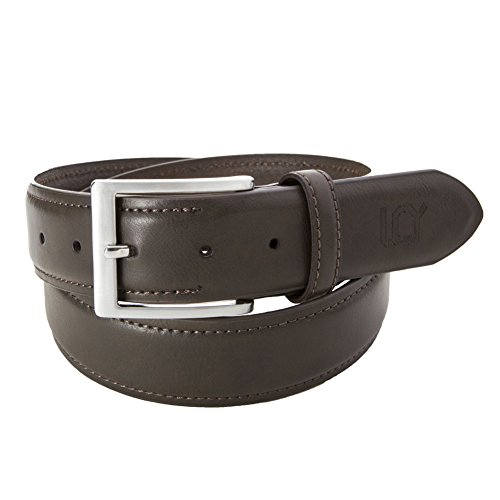 Belt Buckle Logoed Mens (LUCHENGYI Men's Designer Leather Belt Brown 44)