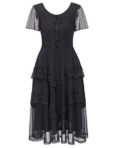 Belle Poque Women Renaissance Gypsy Boho Peasant Dress for Wedding BP502-1 XL Black