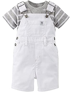 Carter's Baby Boys' 2 Piece Shortall Set (Baby) - White
