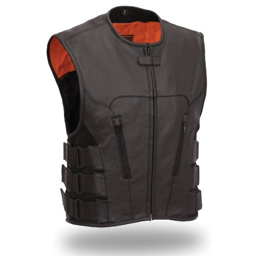 Milled Cowhide (First Manufacturing Men's Updated SWAT Team Style Vest (Black, Large))