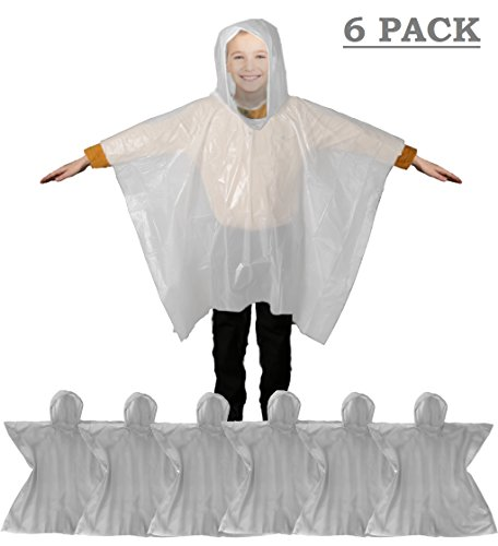 Emergency Kids Rain Poncho with Hood & Breathable Eva Material - Commuter Friendly Survival Kit Accessory for Travel Trailblazing Picnics Camping School Corporate Events (Clear) (6 Pack) by Wealers