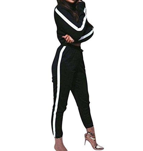 ZEZKT Damen Sportswear 2 Teile Langarm Sweatshirt + Hosen Casual Jogginganzug Sportbekleidung Yoga Laufen Aktivitäten Fitness Trainingsanzug Jogginganzug Zweiteiler Casual Sportanzug Schwarz