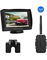 AUTO-VOX M1W Wireless Reversing Camera Kit,IP 68 Waterproof LED Super Night Vision License Plate Reverse Reversing Rear View Back Up Car Camera,4.3'' TFT LCD Rearview Monitor for Vans,Camping Cars,Trucks,RVs