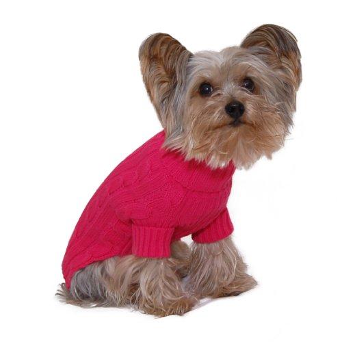 Designer Pet Clothes, Fuchsia Turtleneck Dog Sweater, Classic Aran Knit (#16 - X Large) - Designer Pet Clothes