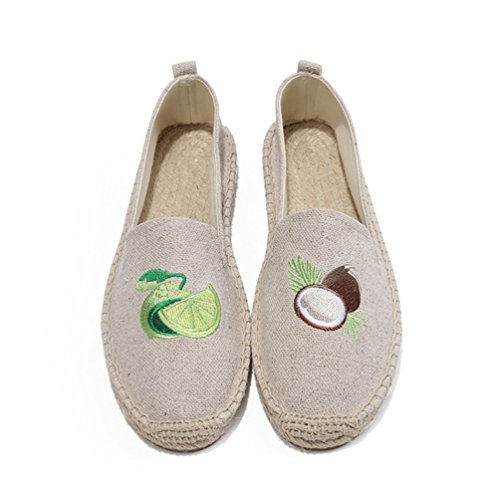 Jitong Espadrille Loafers for Women Low-top Comfortable Flat Moccasins Breathable Walking Slippers Beige #1 pfaZQ