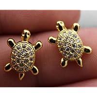 Meenanoom 18K Yellow Gold Filled- Tortoise Sea Turtle Topaz Zircon Club Women Gem Earrings
