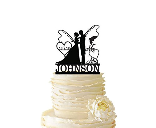 Wedding Cake Toppers Bride and Groom Fishing,Fishing Cake Topper,Wedding Cake Toppers Mr and Mrs Personalized Last Name and Custom Date