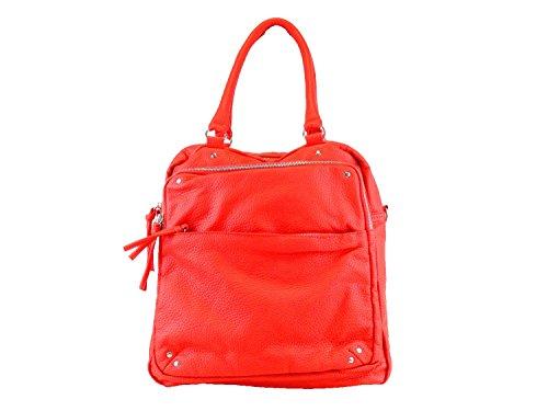 "Bebe Rose ""rebecca"" Leatherette Handbag Tote -red Bh501 Red"