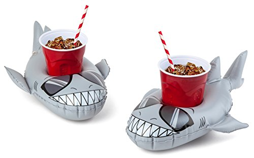 BigMouth Inc. Inflatable Super Chill Shark Floaring Drink Holder, Cup Holder Floats, 2-Pack, Great for Pool Parties