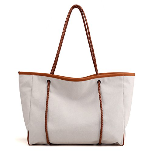 Casual Women White Of For Trend Shoulder Women Sdinaz Canvas Large Light Trousers Bags Bag XCZZUnHqw