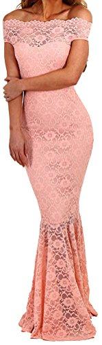 DH-MS Dress Women's Elegant Pink Bardot Lace Fishtail Maxi Party Dress (College Girl Halloween Pics)