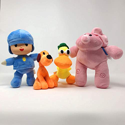 WAREHOUSEDEALS Inspired by Pocoyo Plush Toys Doll Stuffed Soft- Pocoyo Loula Elly Pato - Set 4pcs 14cm-30cm]()