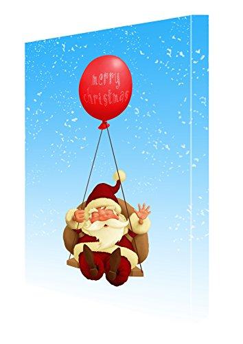 Christmas Swinging Santa with Balloon Canvas 11 x 14