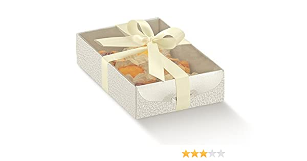 10 piezas caja Pastelería Dolcezza portadolci Porta tartas piel blanca lazo no incluye: Amazon.es: Hogar