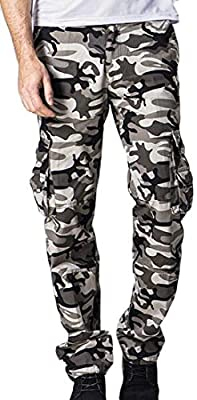 WSPLYSPJY Mens Casual Military Army Cargo Camo Combat Work Pants Trouser