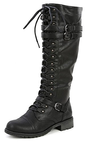 Wild Diva Womens Knee High Boots Lace Up Riding Boots 3