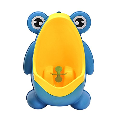 Geekercity Cute Frog Boys Potty Toilet Training for Toddler Boys Pee Trainer Bathroom Children Urinal with Funny Whirling Aiming Target (Blue)