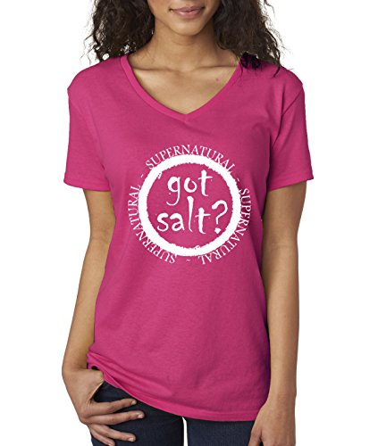 Got Salt - New Way 298 - Women's V-Neck T-Shirt Got Salt Supernatural Funny Parody XL Heliconia