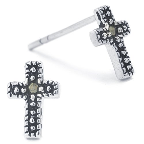 - Silver on the Web Fine Silver Plated Marcasite Cross Stud Earrings