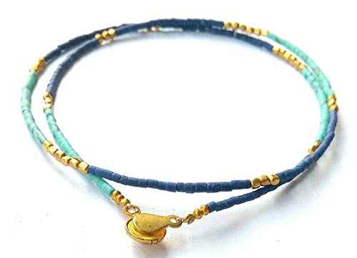 Afghan Natural Lapis Lazuli, Turquoise Tiny Seed Beads with Brass Necklace Jewelry Dainty Minimalist Handmade