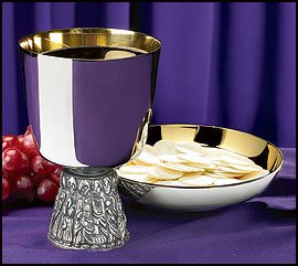 Last Supper Chalice and Bowl Paten Nickel Plate 16 oz,4 Diax6 H,6 Dia Paten