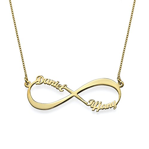 Infinity Pendant Name Necklace in Gold Plating - Custom Made with Two Names - Endless Love for couple