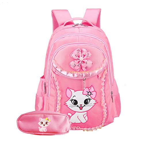 Cat Printed Girls Backpack Kids School Bookbag for Primary Students Pink