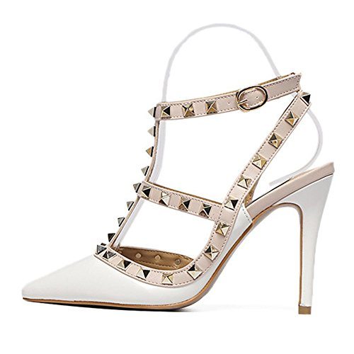 Womens Adora Rivet Studded Pointy Toe T-strap Ankle Buckle High Heel Party Pumps Shoes No.237 White yJtUJvlr