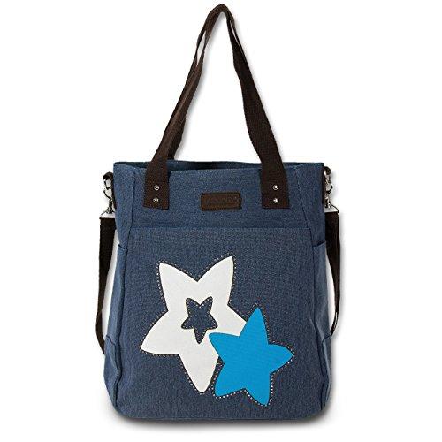 Manoro - Bolso al hombro de Lona para mujer azul azul