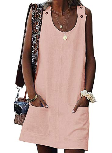 (Valphsio Women's Sleeveless Button Dress Crew Neck Casual Mini Shift Dress with Pocket (Small, 1-Pink))