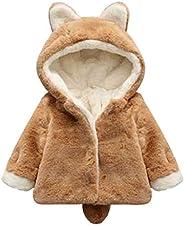 puseky Kids Baby Girls Winter Coat Soft Fleece Thick Warm Jacket Ear Hooded Snowsuit Outwear Overcoat