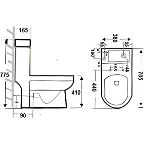 Affine 2 in 1 Toilet Basin Combo Combined Toilet and Sink Space Saving Cloakroom Unit