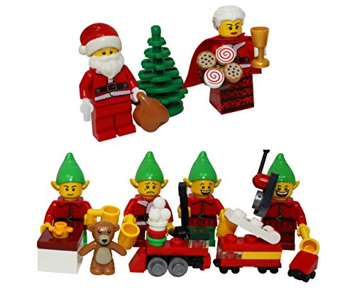 LEGO Christmas Santa Claus, Mrs Claus, & 4 Elves with Christmas Tree, Elf Gift Presents - Custom Xmas Minifigure -